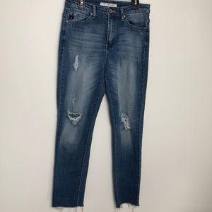 Kancan High Rise Distressed Crop Jeans 27